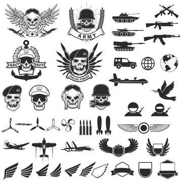 Set of military labels, badges, emblems and design elements.
