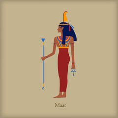 Maat, Goddess of justice icon, flat style