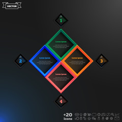 Vector infographic design with colorful rhombs.