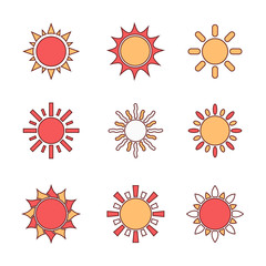 Line Sun symbols set, vector design elements