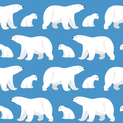Vector seamless pattern with two polar bears, she-bear and teddy
