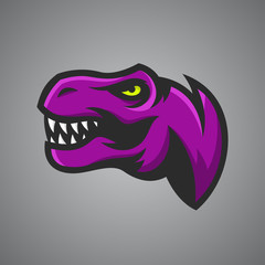 Vector illustration of Tyrannosaurus Rex head. Sport mascot.