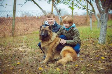 boys with German Shepherd