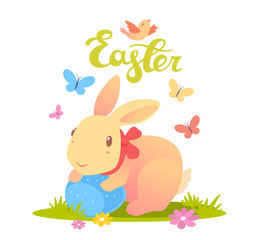 Vector illustration of Happy Easter greetings with yellow bunny