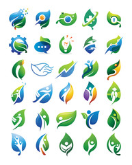 30 Fresh Business People and Leaf Logo Elements
