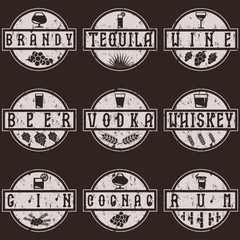 vintage grunge vector labels set of alcohol drinks