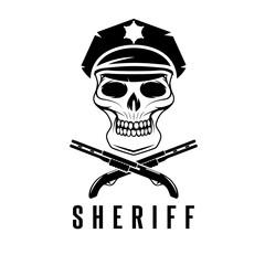 sheriff skull in cap and shotguns vector design template