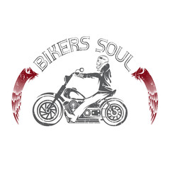 bikers theme grunge label with skeleton on motorbike