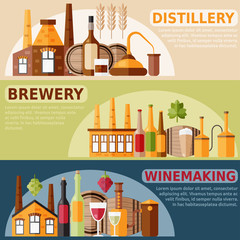 flat design horizontal vector banners on distillery,winemaking a
