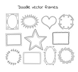 Collection of doodle vector frames