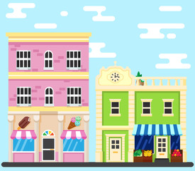 City street. Building shop Vector illustration