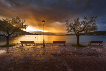 romantic sunrise on the bay on Lake Garda