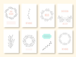 Set of invitations with hand draw flower elements