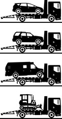 Set of different silhouettes auto transporters isolated on white background. Vector illustration.