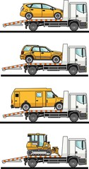 Set of different auto transporters isolated on white background in flat style. Vector illustration.