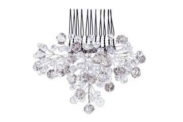 Beautiful crystal pearl wedding comb for bride hair isolated on white