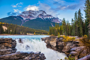 Pyramidal mountain and waterfall Athabasca