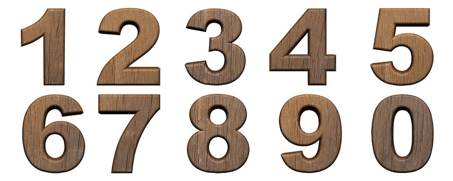 Set of wooden 3d numbers