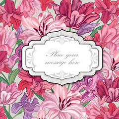 Floral frame Flower greeting card border Flourish textured background