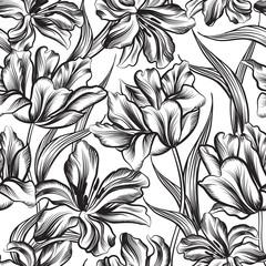 Floral seamless pattern. Decorative flower background.