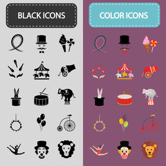 Set of thirty black and color circus icons