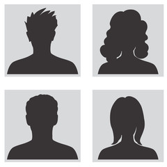 People profile silhouettes. Avatar set.