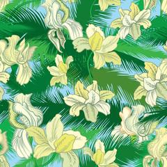 Floral seamless pattern. Flower bouquet background. Flourish jungle texure