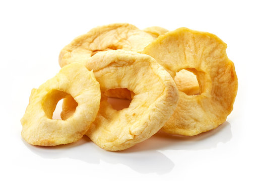 dried apples on white background