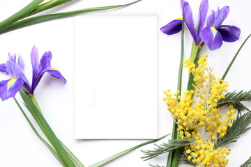 Spring flowers Mimosa and Iris Mockup. Post blog social media.