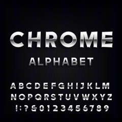 Chrome Alphabet Vector Font. Metallic type letters and numbers on the dark background. Vector typeface for headlines, posters etc.