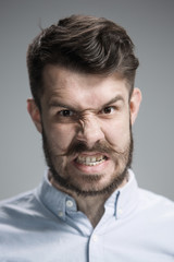 Close up face of  angry man