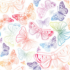 Butterfly seamless pattern. Summer background.