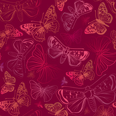 Butterfly silhouette seamless pattern. Summer holiday outline background.