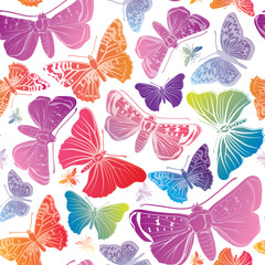 Butterfly pattern. Summer holiday seamless background.