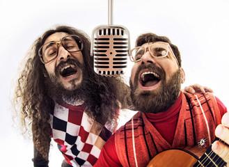 Printed kitchen splashbacks Artist KB Two nerdy guys singing together