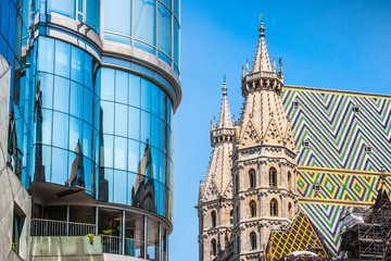 St. Stephen's Cathedral with Haas Haus in Vienna, Austria
