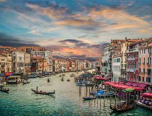 Obraz Canal Grande at sunset with vintage effect, Venice, Italy - fototapety do salonu