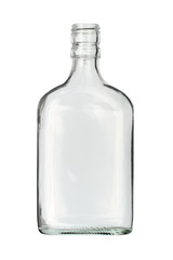 Flat bottle (with clipping path) isolated on white background