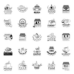 Market Food Icons Set - Vector Illustration