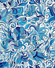 Fantasy flowers seamless paisley pattern. Floral ornament, for fabric, textile, cards, wrapping paper, wallpaper template. Ornamental blue background