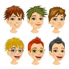 set of boy avatar with different hairstyles