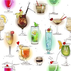 seamless pattern with alcohol cocktails
