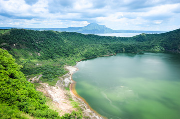 Lake crater at Taal volcano,Tagaytay city,Philippine.