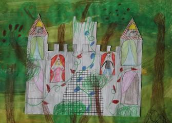 Kinderzeichnung / Collage : Mein Traumschloss mit Prinzessin und Prinz