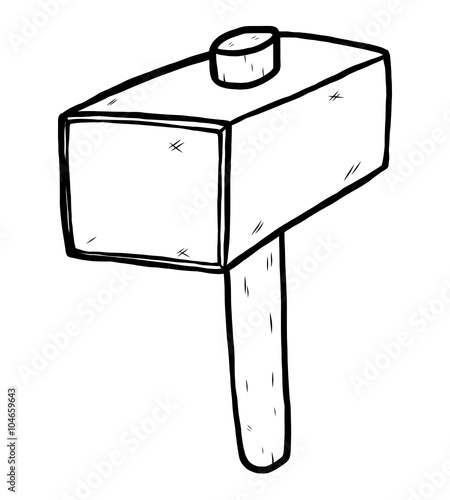 hammer clipart black and white. big mallet hammer cartoon vector and illustration black white hand drawn clipart 3