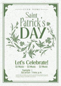 Saint Patrick's day vintage poster design, Vector template.