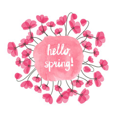 Hello spring vector illustration. Watercolor pink splash and delicate flowers isolated on white. Round floral decorative element for design. Eps 10.