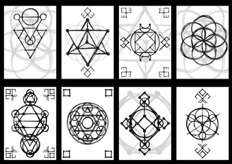 Set of cards with abstract hand sketched sacred geometry drawing. Tribal style. Vector illustration.