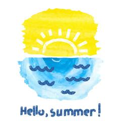Hello summer vector illustration. Watercolor sunrise.
