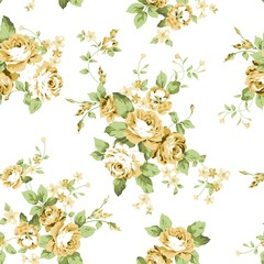 Yellow Flowers Seamless Pattern